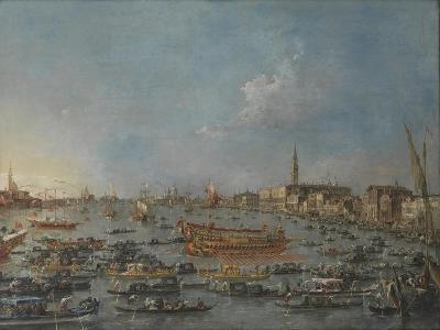 "Bucintoro Festival Venice. Bacino di S. Marco w/ ""Bucintoro"", Doge's Barge, Ascension Day, 1780-93-Francesco Guardi-Giclee Print"