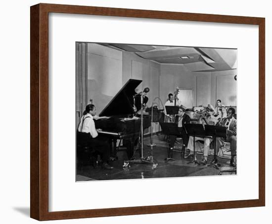 Buck Clayton, Charlie Parker, Dexter Gordon, Charles Thompson, Danny Barker, Jimmy Butts, JC Heard--Framed Photo