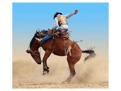 Bucking Rodeo Horse--Art Print