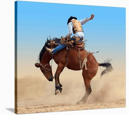 Bucking Rodeo Horse--Stretched Canvas Print