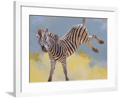 Bucking Zebra-Julie Chapman-Framed Art Print