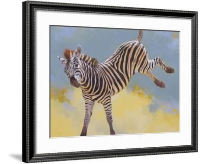 Bucking Zebra-Julie Chapman-Framed Art Print