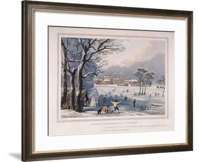 Buckingham House and St James's Park in the Winter, London, 1817-Robert Havell the Younger-Framed Giclee Print