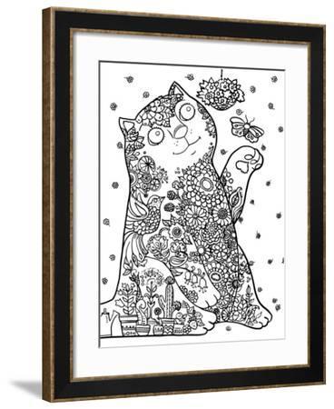 Bucolic Cat Line Art-Oxana Zaika-Framed Giclee Print