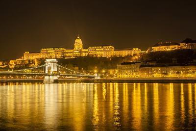 Buda Castle. Chain Bridge. Nightscape. Danube River Surroundings. Budapest. Hungary-Tom Norring-Photographic Print