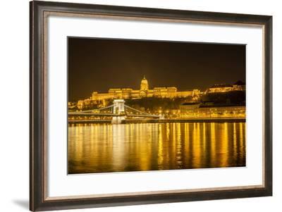 Buda Castle. Chain Bridge. Nightscape. Danube River Surroundings. Budapest. Hungary-Tom Norring-Framed Photographic Print