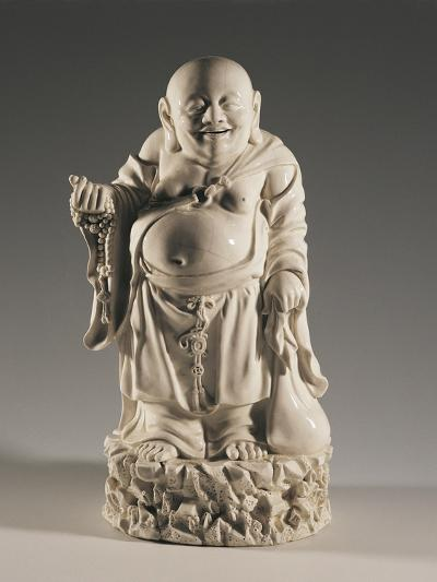 Budai, also Called the Smiling Buddha, on Rocks with a Sack and a Buddhist Rosary--Giclee Print