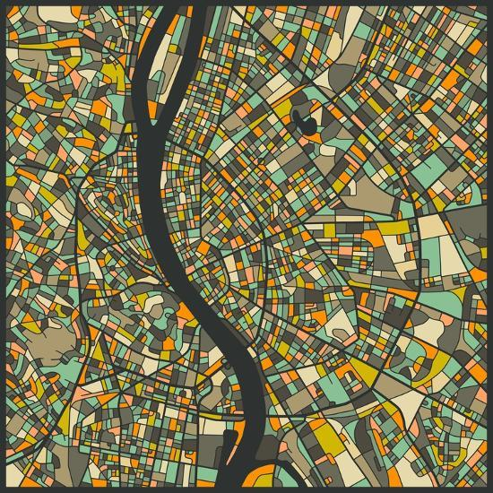 Budapest Map-Jazzberry Blue-Art Print