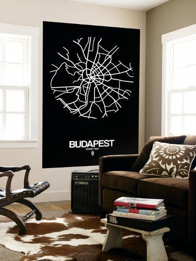 Budapest Street Map Black-NaxArt-Wall Mural