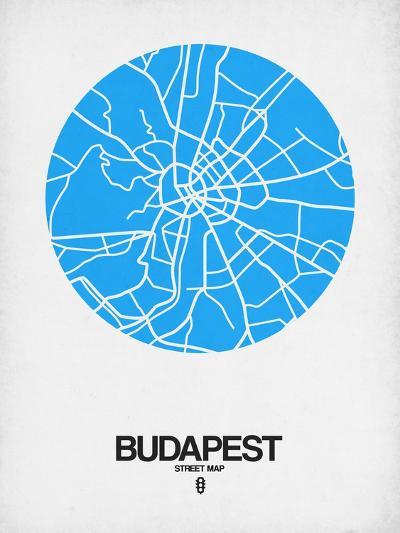 Budapest Street Map Blue-NaxArt-Art Print