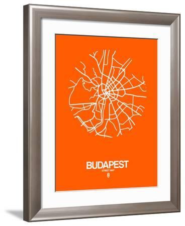 Budapest Street Map Orange-NaxArt-Framed Art Print