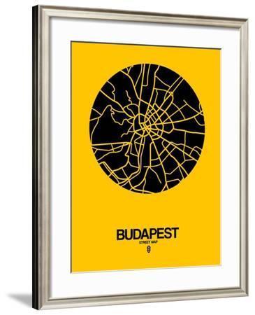 Budapest Street Map Yellow-NaxArt-Framed Art Print