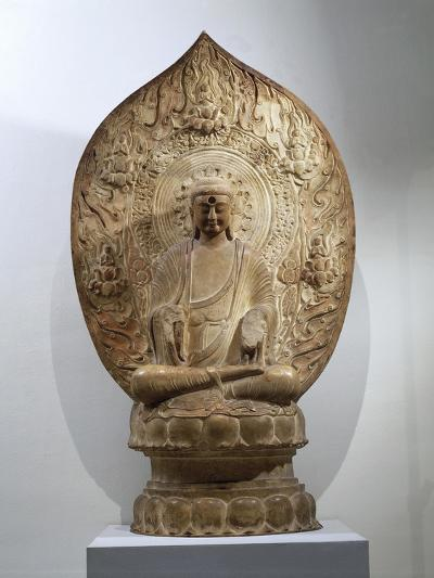 Buddha Amitabha Relief in Northern Qi Style, from the Hebei Province, China--Giclee Print