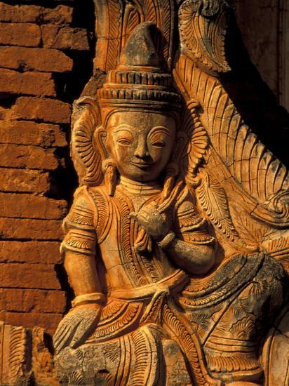 Buddha Carving at Ancient Ruins of Indein Stupa Complex, Myanmar-Keren Su-Photographic Print