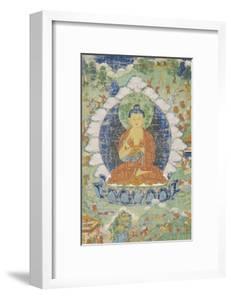 Buddha en vajrapariankasana et vitarka-mudra et scènes illustrant des jâtaka