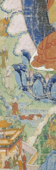 Buddha en vajrapariankasana et vitarka-mudra et scènes illustrant des jâtaka--Giclee Print