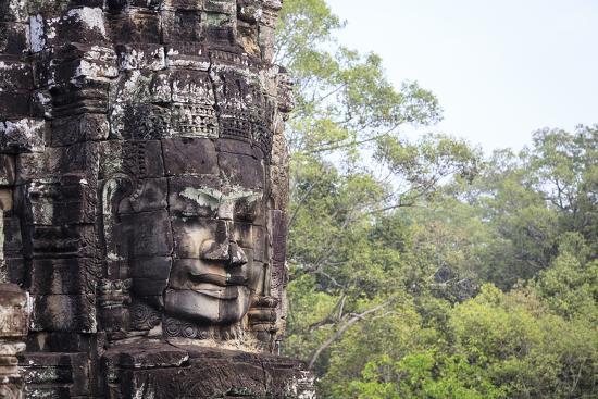 Buddha Face Carved in Stone at the Bayon Temple, Angkor Thom, Angkor, Cambodia-Yadid Levy-Photographic Print