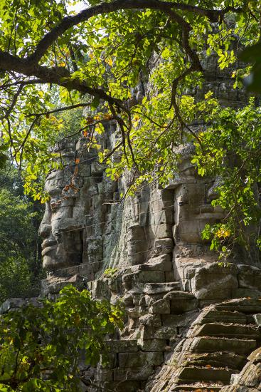 Buddha Face on the Western Gate of Angkor Thom, Siem Reap, Cambodia, Southeast Asia-Alex Robinson-Photographic Print