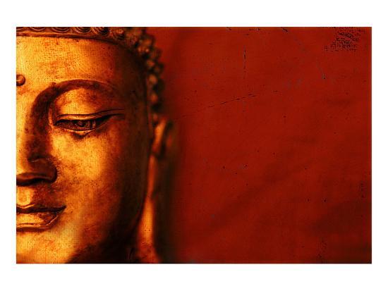 Buddha Face & Red Background--Art Print