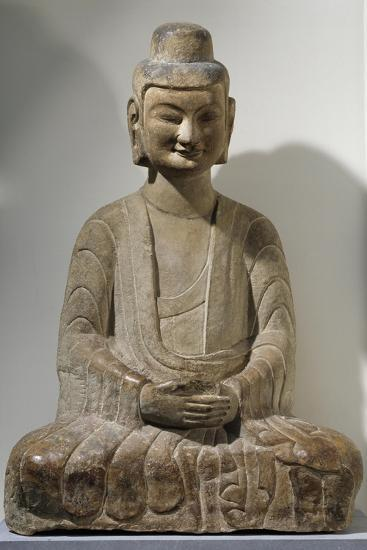 Buddha Sitting in Meditation, Grey Limestone Statue from Gongxian Caves--Giclee Print