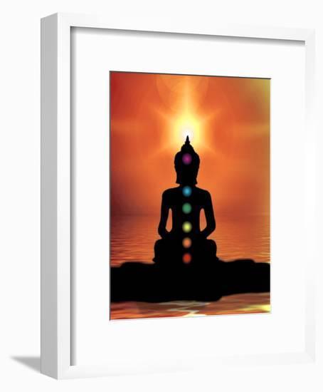 Buddha With Sunset-Wonderful Dream-Framed Art Print