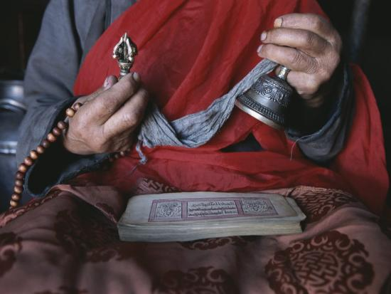 Buddhist Lama with Prayer Book, Prayer Beads and Dorge-Gordon Wiltsie-Photographic Print