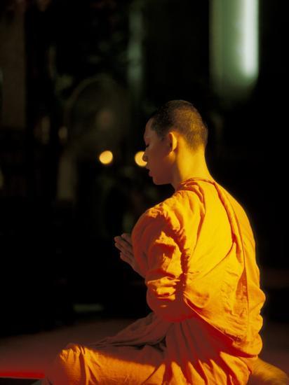 Buddhist Monk at Morning Prayer, Marble Temple, Bangkok, Thailand-Paul Souders-Photographic Print