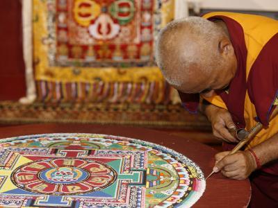 Buddhist Monk Drawing a Mandala, Paris, Ile De France, France, Europe-Godong-Photographic Print