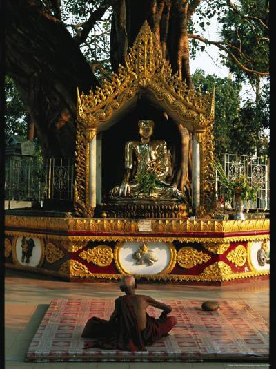 Buddhist Monk Meditating Near Altar with Buddha Statue and Gilt-Steve Winter-Photographic Print