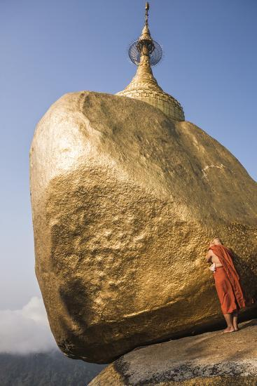 Buddhist Monk Praying at Golden Rock (Kyaiktiyo Pagoda), Mon State, Myanmar (Burma), Asia-Matthew Williams-Ellis-Photographic Print
