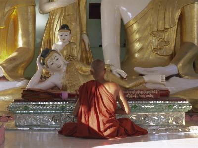 Buddhist Monk Worshipping at Shwedagon Paya (Shwe Dagon Pagoda), Yangon (Rangoon), Myanmar (Burma)-Gavin Hellier-Photographic Print