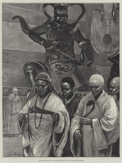 Buddhist Monks at the Entrance to Ku-Shan Monastery-Richard Caton Woodville II-Giclee Print