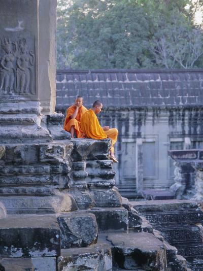 Buddhist Monks at the Temple Complex of Angkor Wat, Angkor, Siem Reap, Cambodia, Indochina, Asia-Bruno Morandi-Photographic Print