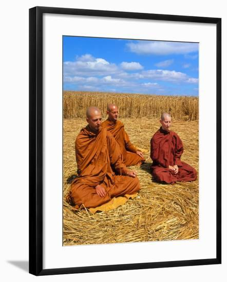 Buddhist Monks Meditating In a Crop Circle-David Parker-Framed Photographic Print