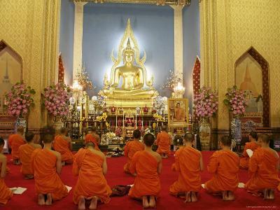 Buddhist Monks Praying, Wat Benchamabophit (Marble Temple), Bangkok, Thailand, Southeast Asia, Asia-Angelo Cavalli-Photographic Print