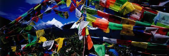 Buddhist Prayer Flags Framing Mt Miacimu, Meili Xueshan Mountain Range-Richard I'Anson-Photographic Print