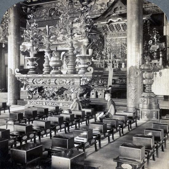Buddhist Priests in Ikegami Temple, Omori, Japan, 1904-Underwood & Underwood-Photographic Print
