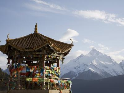 Buddhist Stupa with Meili Snow Mountain Peak in Background, Deqin, Shangri-La Region, China-Angelo Cavalli-Photographic Print
