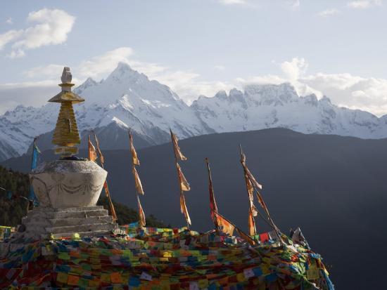 Buddhist Stupas on Way to Deqin, Dequin, Shangri-La Region, Yunnan Province, China-Angelo Cavalli-Photographic Print