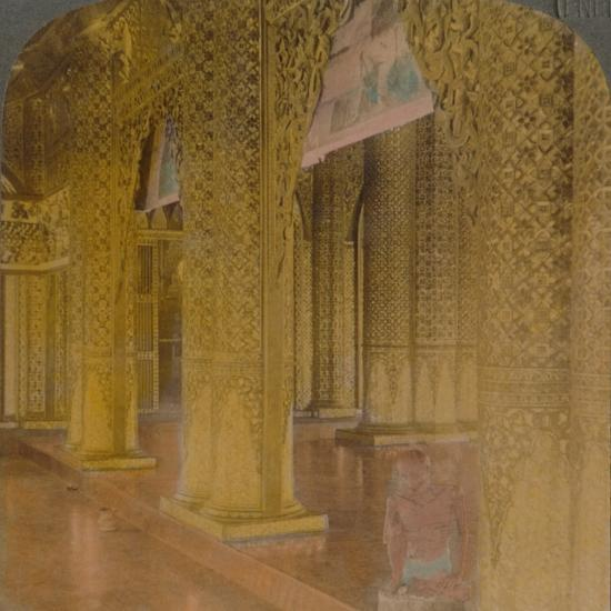'Buddhist temple interior with costly decorations in gold and colors, Moulmein, Burma', 1907-Elmer Underwood-Photographic Print