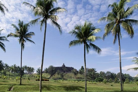 Buddhist Temple of Borobudur in Background (Unesco World Heritage List--Giclee Print