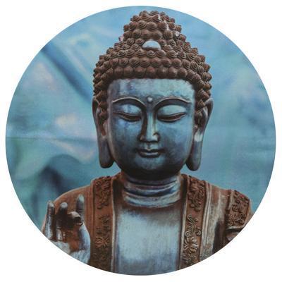 Budha - Circular Silver Canvas Giclee Printed on 2 - Wood Stretcher Wall Art
