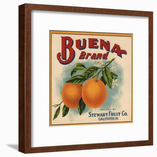Buena Brand - California - Citrus Crate Label-Lantern Press-Framed Art Print