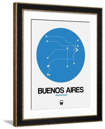 Buenos Aires Blue Subway Map-NaxArt-Framed Art Print