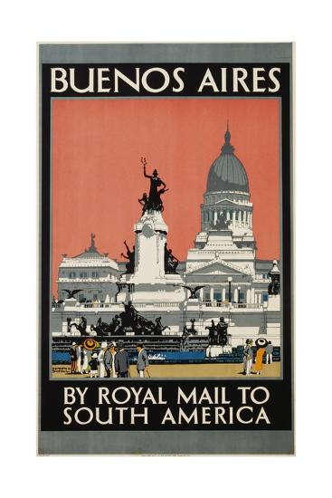 Buenos Aires by Royal Mail to South America Poster-Kenneth Shoesmith-Giclee Print