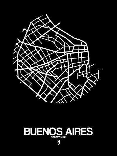 Buenos Aires Street Map Black-NaxArt-Art Print