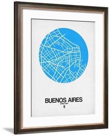 Buenos Aires Street Map Blue-NaxArt-Framed Art Print