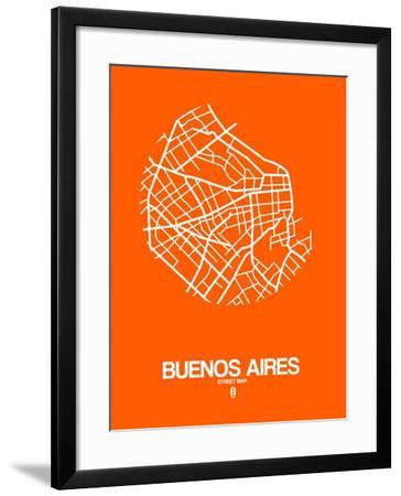 Buenos Aires Street Map Orange-NaxArt-Framed Art Print