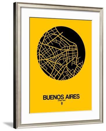 Buenos Aires Street Map Yellow-NaxArt-Framed Art Print