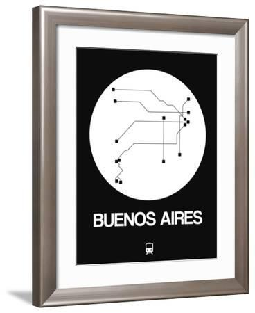 Buenos Aires White Subway Map-NaxArt-Framed Art Print